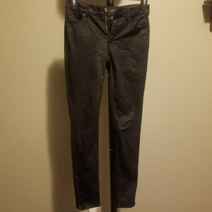 WHBM textured zipper leg black skinny leg jeans